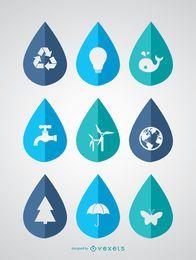 Día Mundial del Agua - 9 iconos ecológicos en gotas.