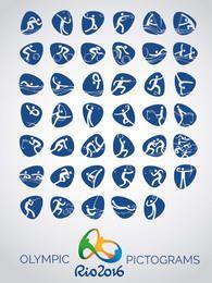 Pictogramas de ícones do vetor Rio 2016