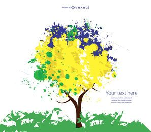Yellow blue and green tree
