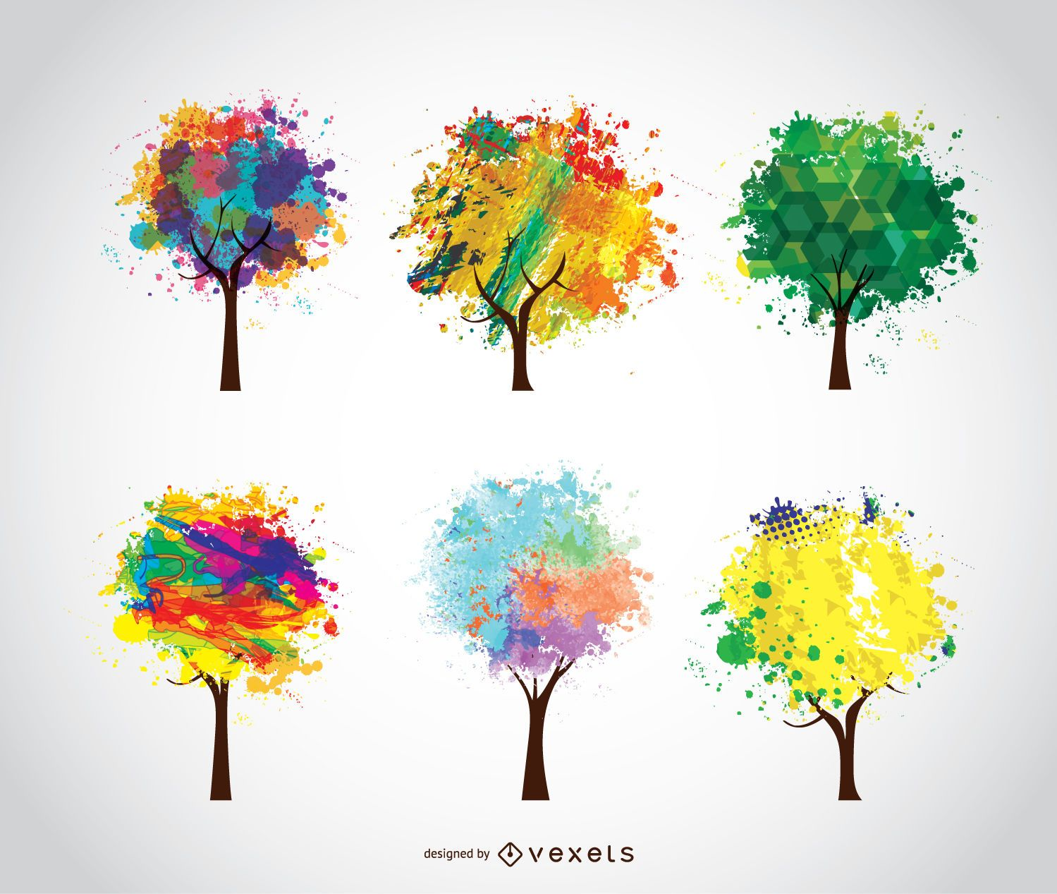 6 árvores artísticas coloridas