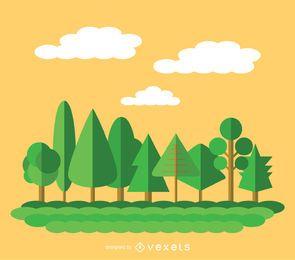 9 árvores verdes planas