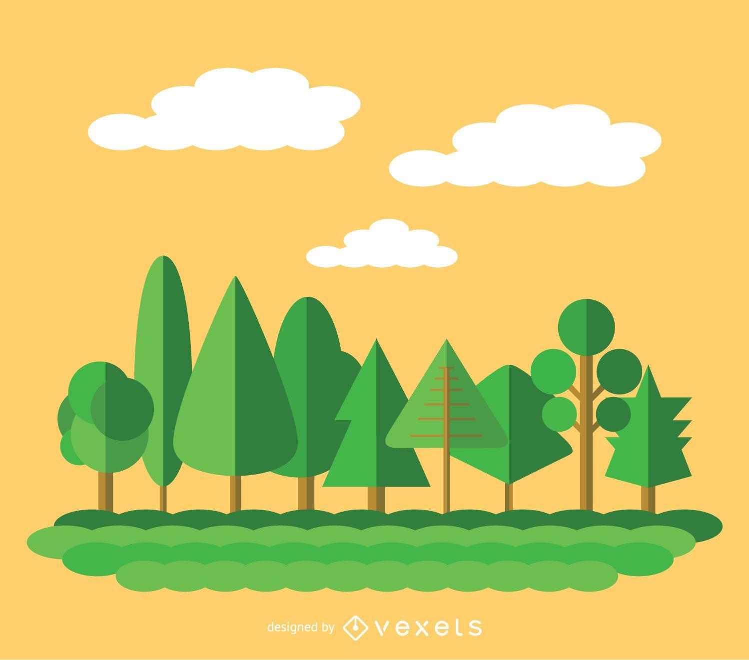 9 árboles verdes planos