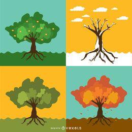 Set von 4 saisonalen Bäumen