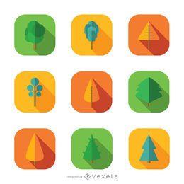 9 iconos de arboles