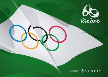 Rio 2016 - bandera de los anillos olímpicos