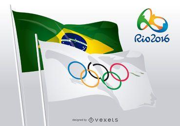 Rio 2016 - Anéis Olímpicos e bandeiras brasileiras