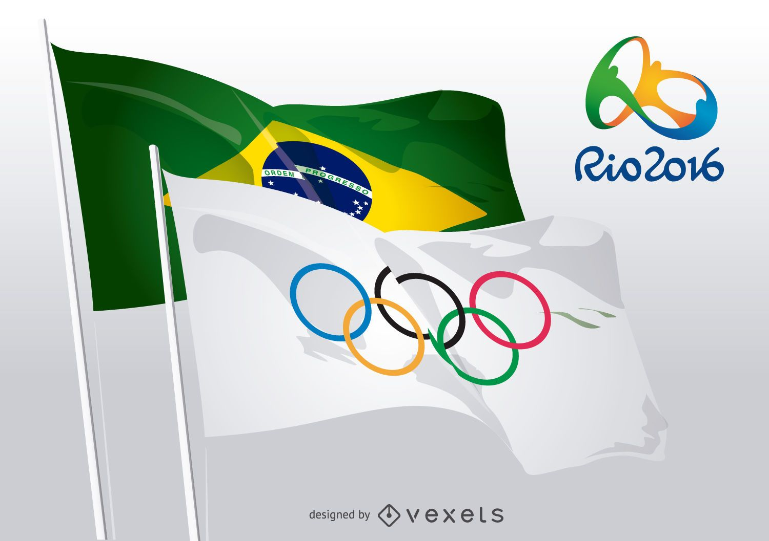 Rio 2016 - Olympic rings and Brazilian flags