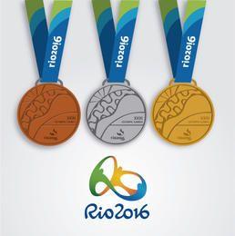 Rio 2016 - desenho de 3 medalhas