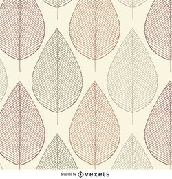 Vintage Blätter Kontur nahtloses Muster