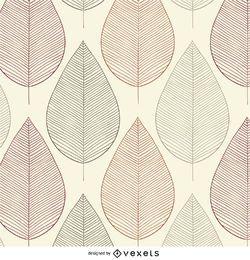 Vintage leaves contour seamless pattern
