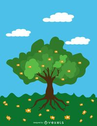 Árbol de primavera de dibujos animados sobre cielo azul