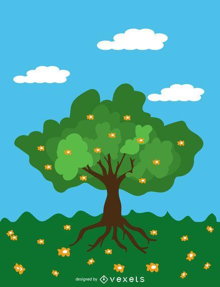 Karikaturfrühlingsbaum über blauem Himmel