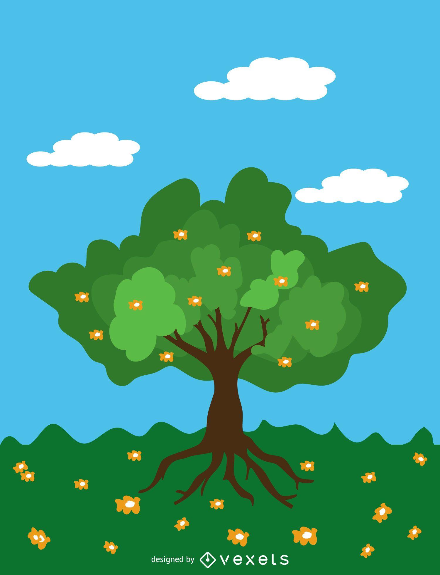 Cartoon Spring tree over blue sky