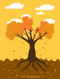 Árbol de otoño de dibujos animados