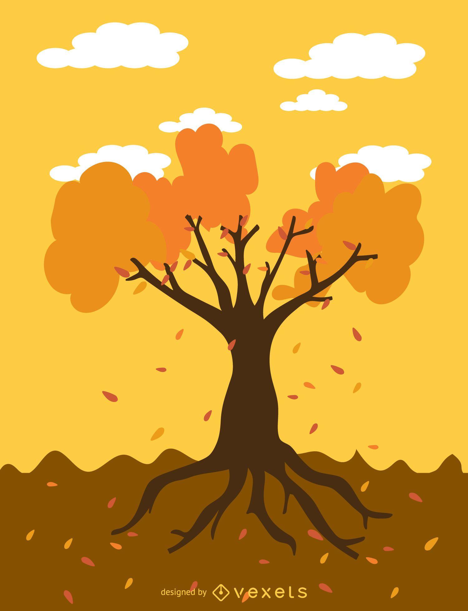 Autumn tree cartoon