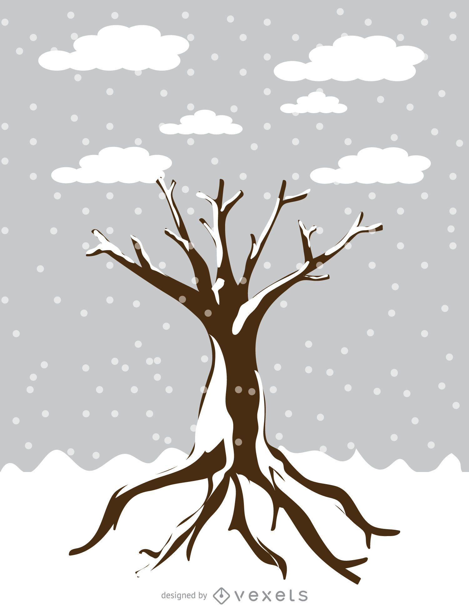Snowy tree in cartoon style