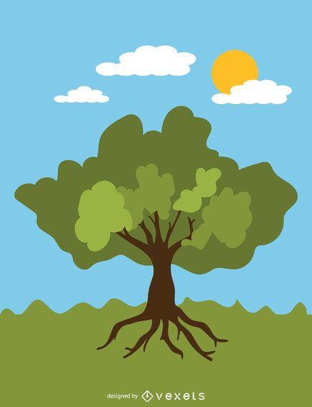 Árbol frondoso de verano en estilo de dibujos animados