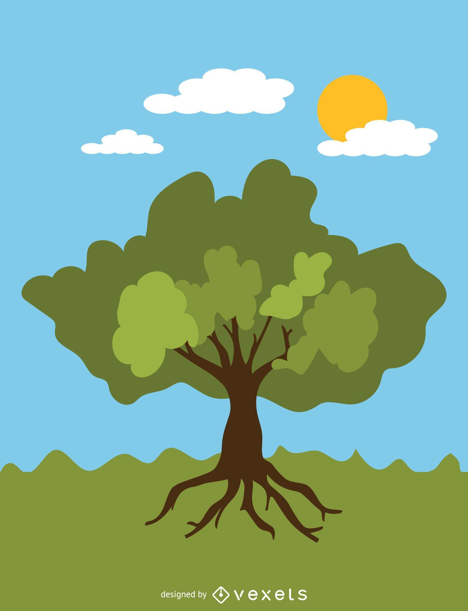 Leafy summer tree in cartoon style
