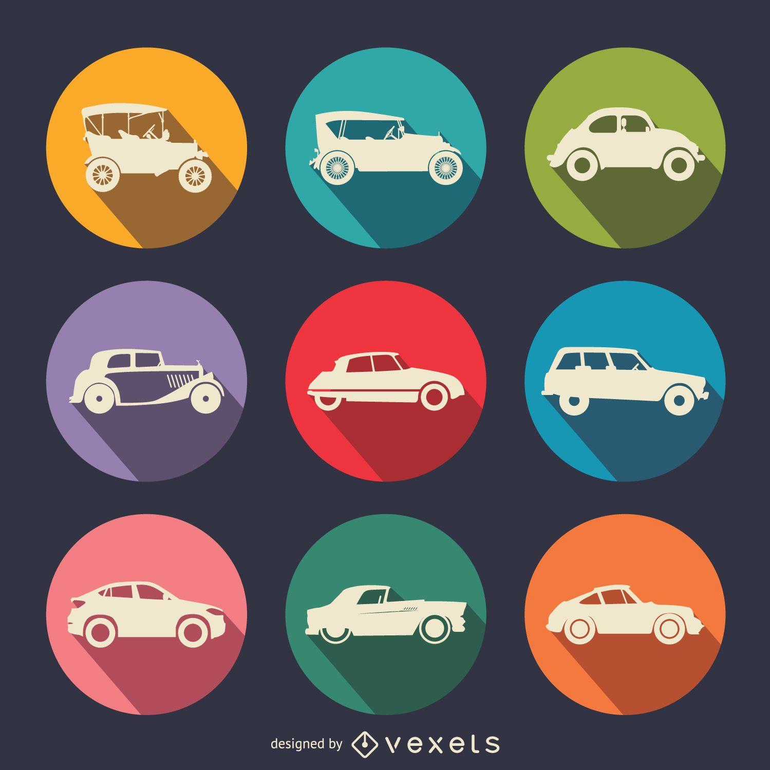 Conjunto de iconos de coches planos vintage