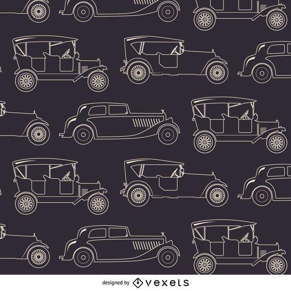 Padrão sem emenda de carros antigos
