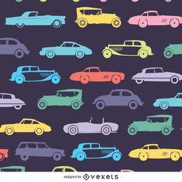 Patrón retro de coche en tonos oscuros.