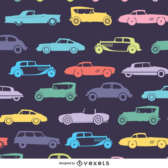 retro car pattern in dark tones vector download