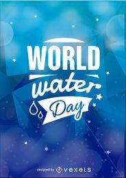 emblema Dia Mundial da Água sobre um fundo azul