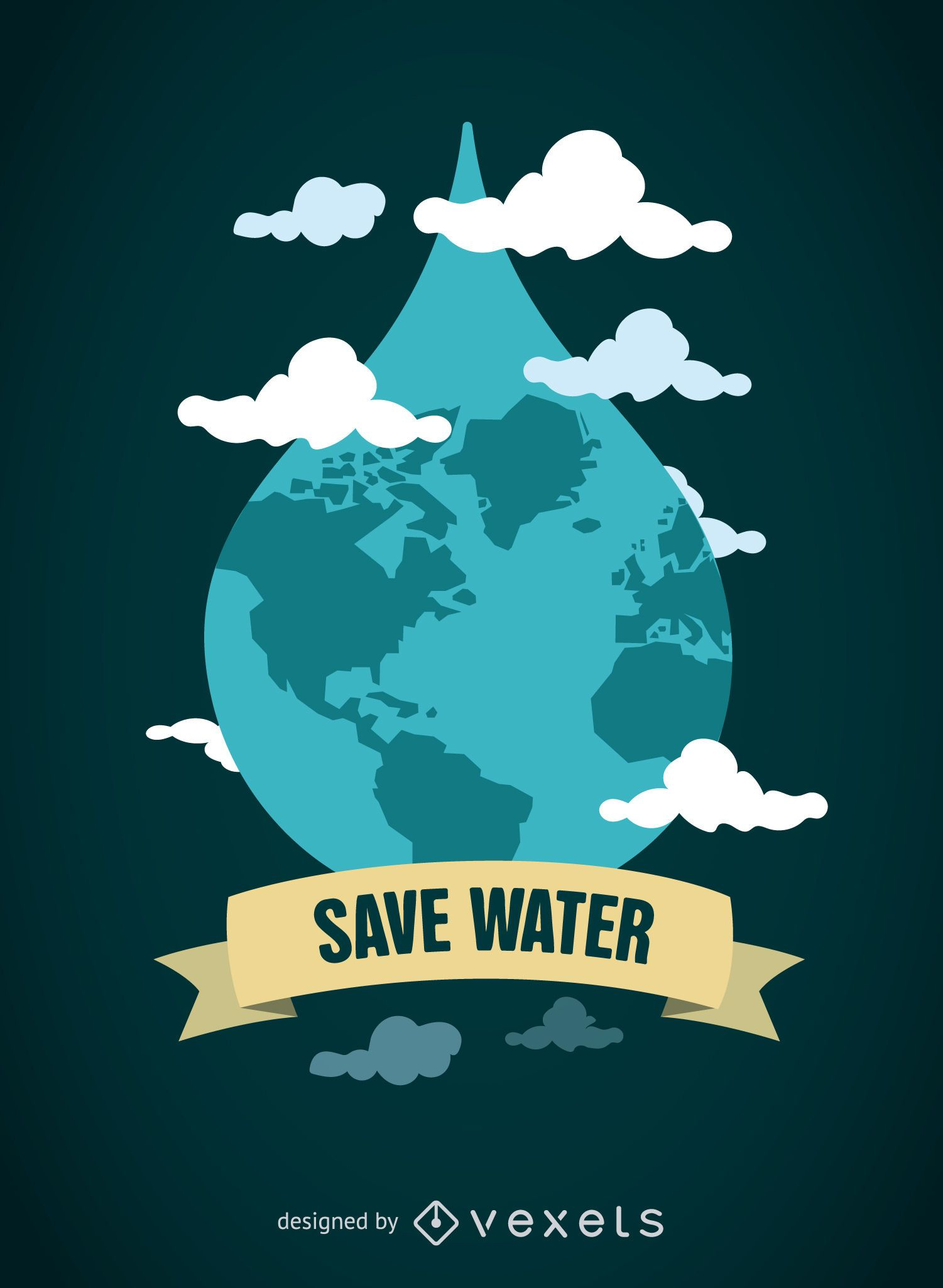 World Water Day - World in drop with emblem