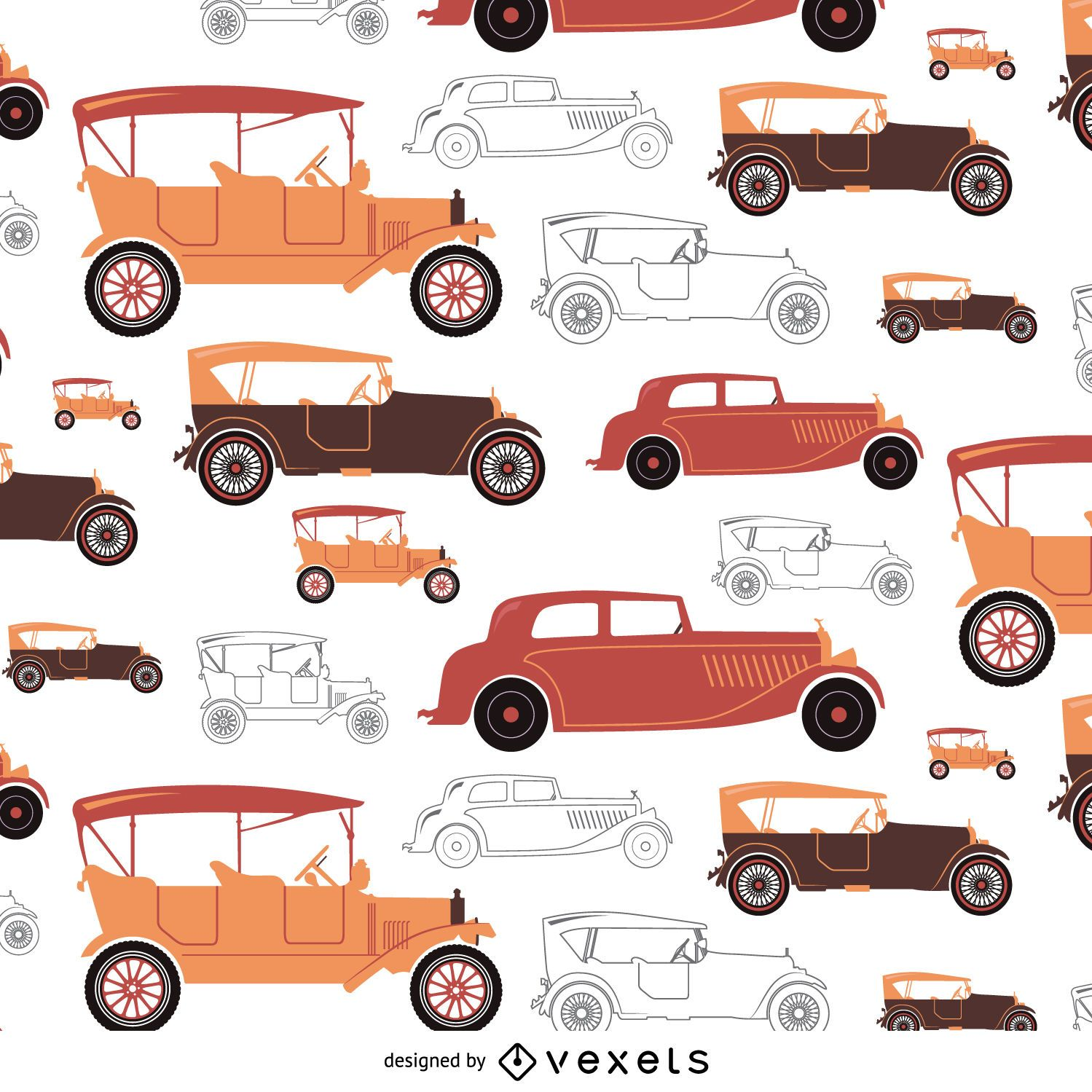 Vintage car tileable in warm tones