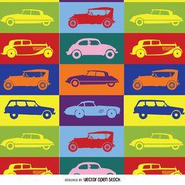 Patrón de coche de arte pop colorido