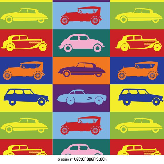Colorful pop art car pattern