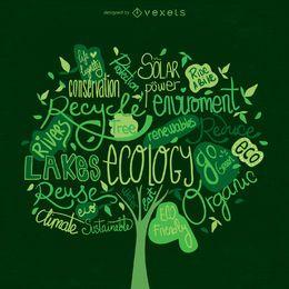 Vector de árbol del día de la tierra