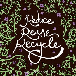 Póster Reducir Reutilizar Reciclar el Día de la Tierra