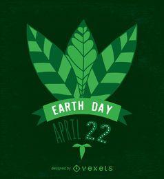 Diseño de hojas de día de la tierra en verde.