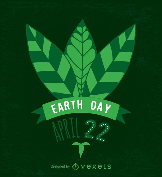 Earth Day leaves design in green