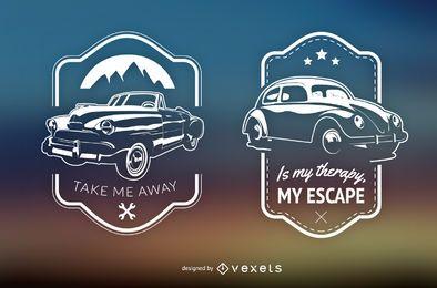 2 emblemas de carros retrô