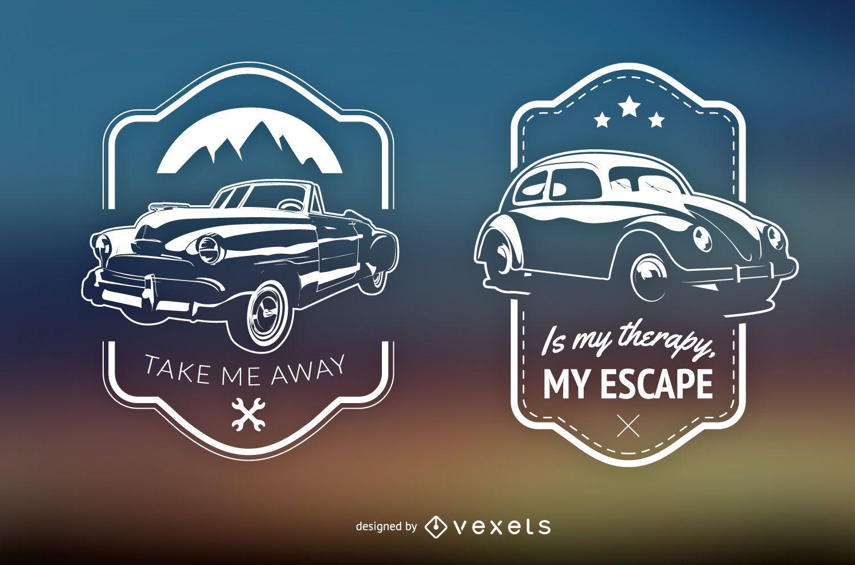2 retro cars emblems