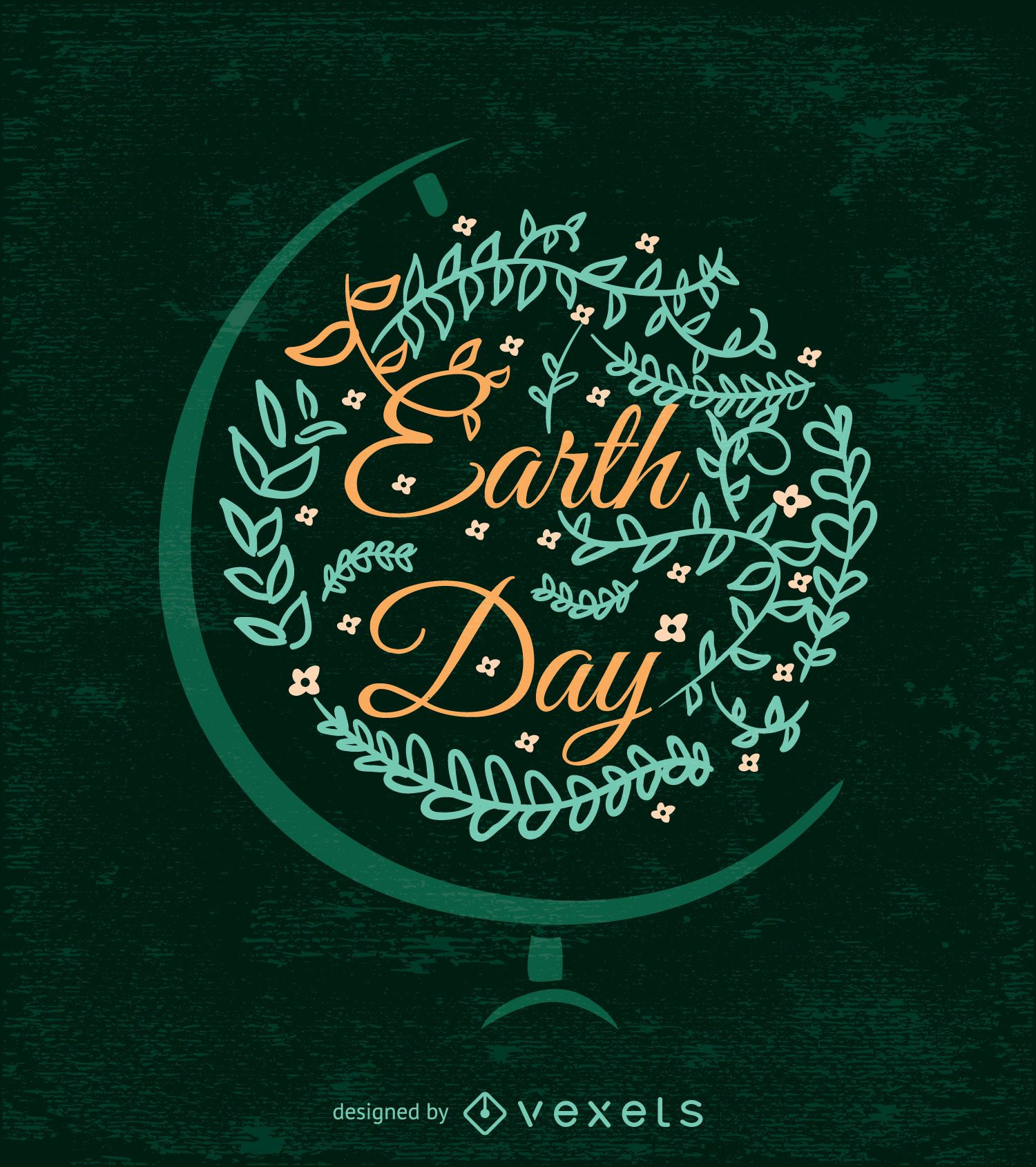 Ornamented Earth Day design with globe bracket