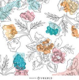 Papel de parede floral desenhado à mão em aquarela