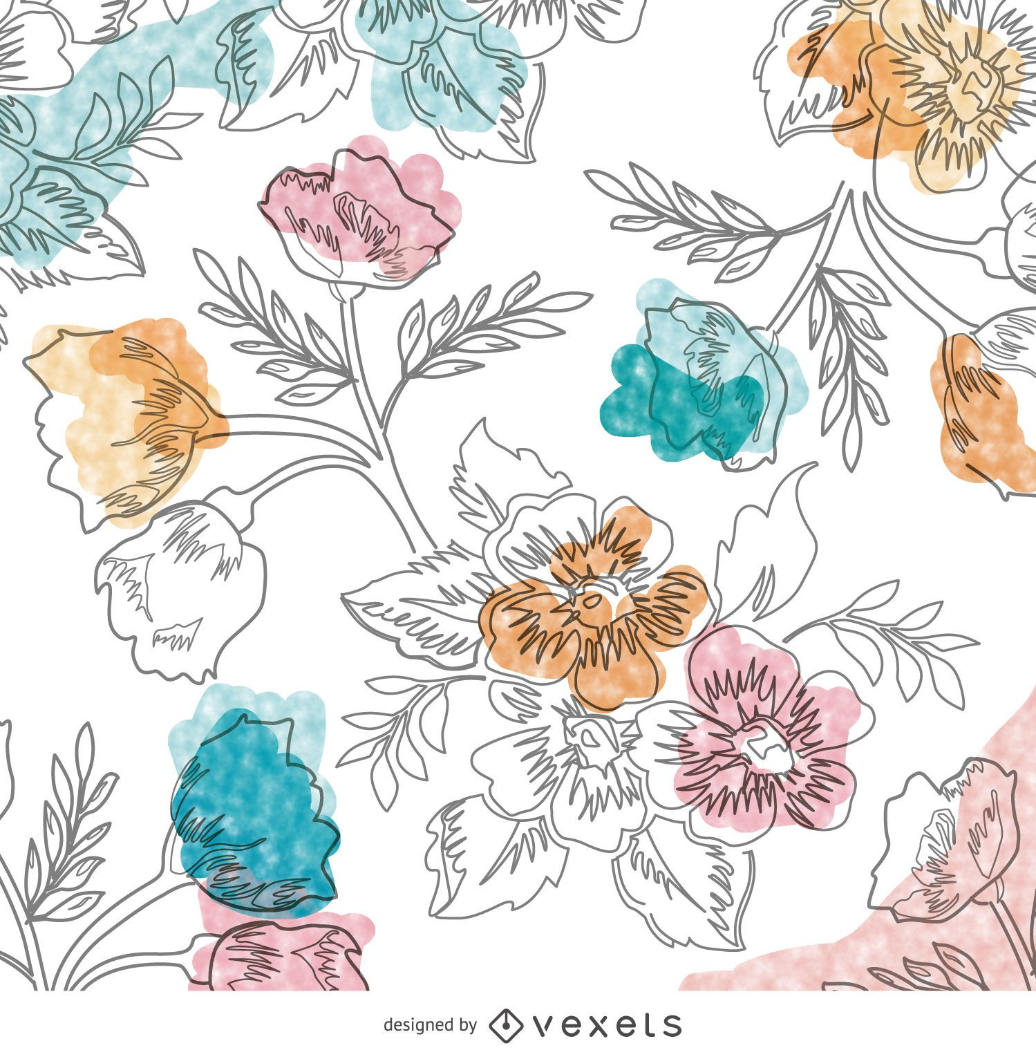 Papel pintado floral acuarela dibujado a mano