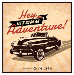 Diseño de coche retro vamos a una aventura