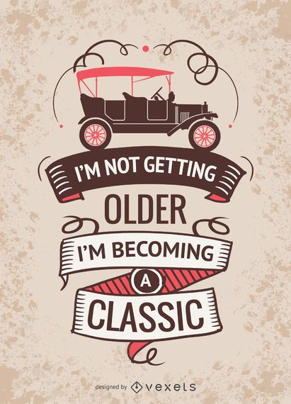 Cartel vintage de coche con mensaje.