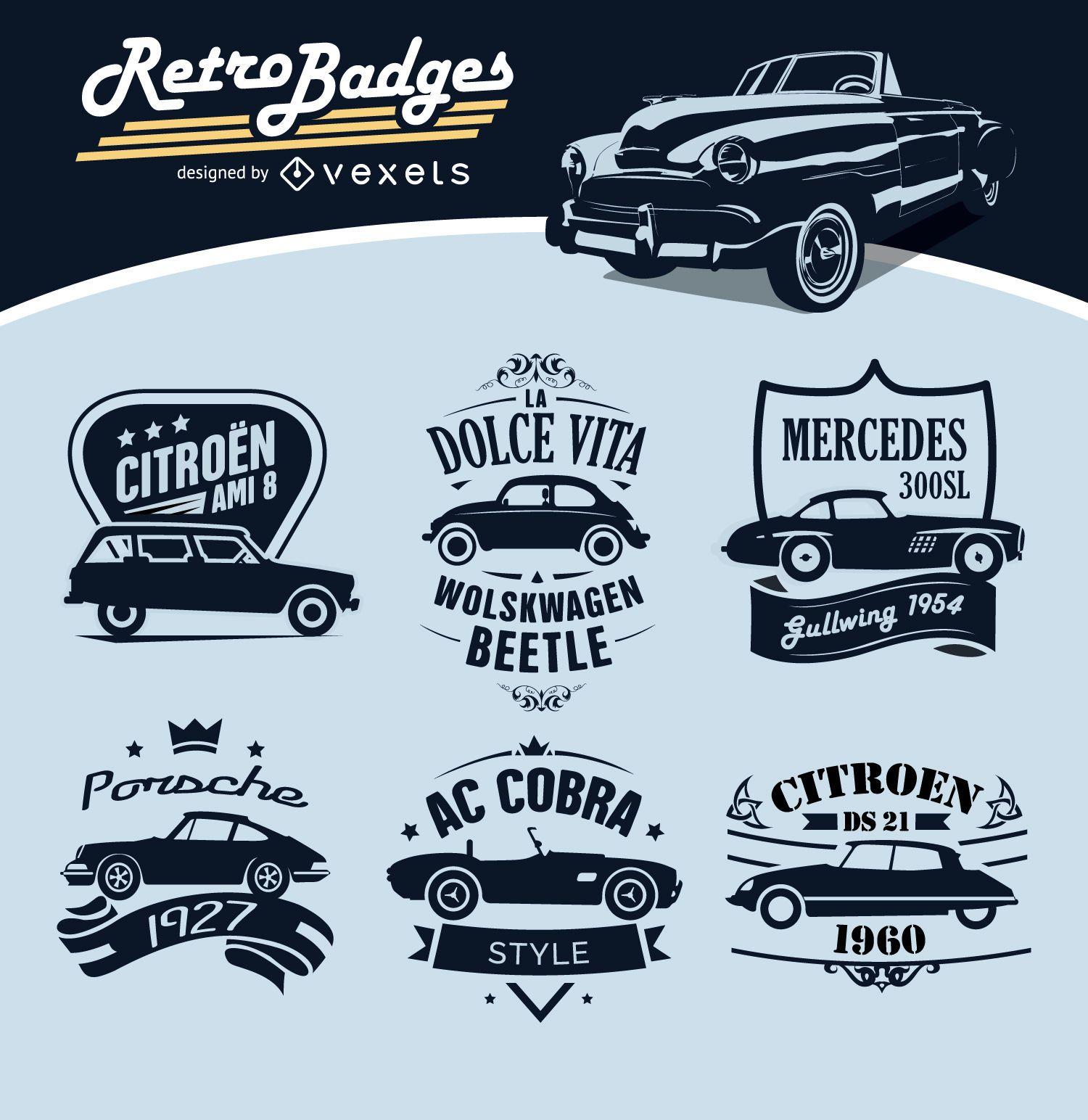 6 Retro Badges Cars