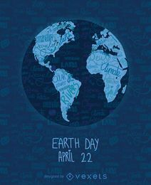 Dia da Terra mapa do mundo escrita