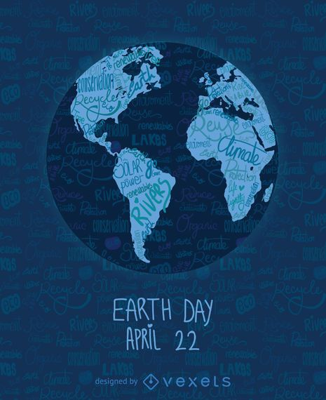 Earth day written world map vector download earth day written world map gumiabroncs Images