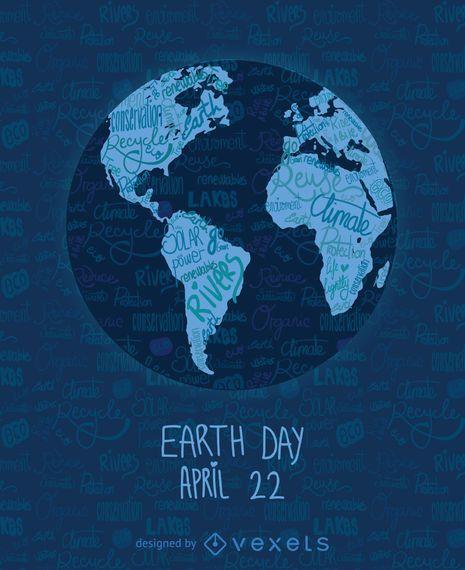 Tag der Erde geschriebene Weltkarte