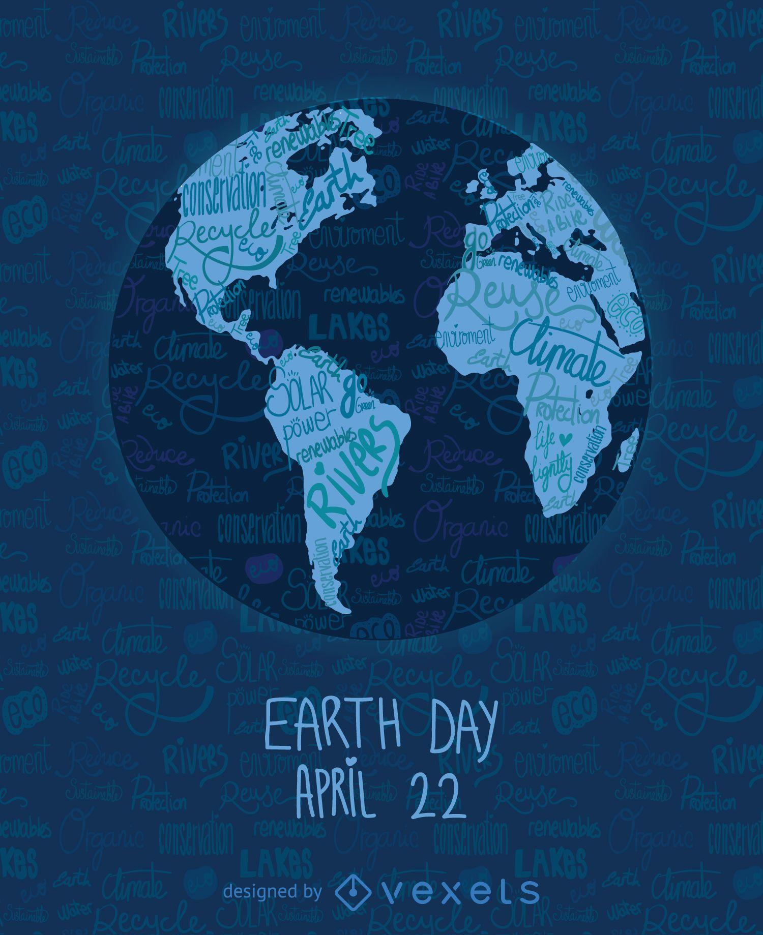 Mapa del mundo escrito del día de la tierra
