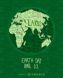 Cartel del Día de la Tierra con el mapa mundial por escrito