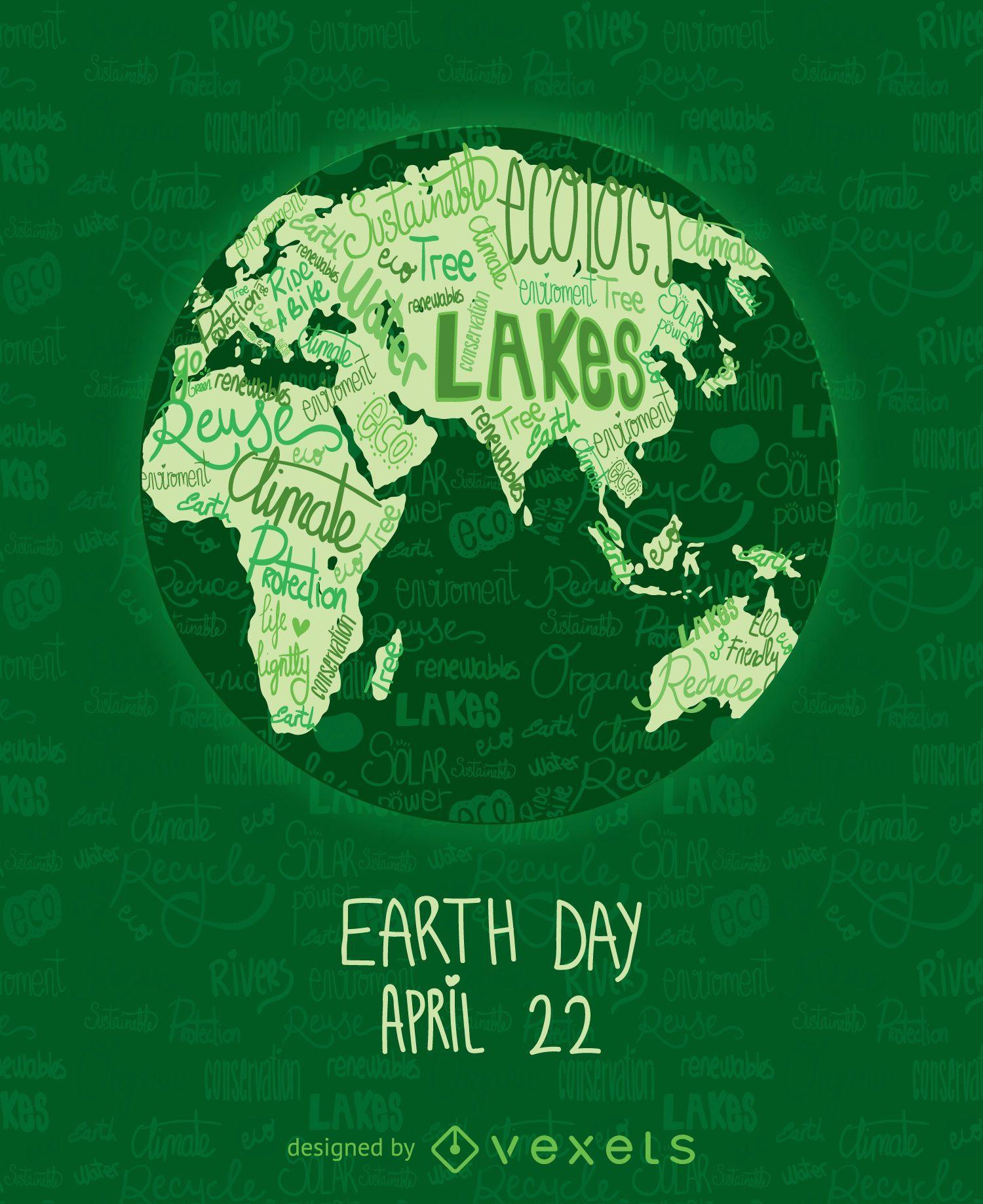 Cartel del día de la tierra con mapa del mundo escrito