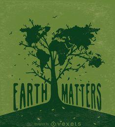 La tierra importa: árbol con un mapa del mundo en verde.